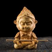 黄杨木雕刻工艺品手把件创意家居装 饰汽车摆件齐天大圣孙悟空随身