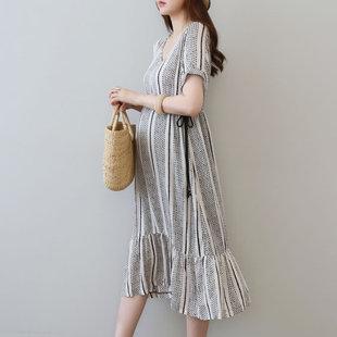 孕妇夏装连衣裙2018新款时尚款大码200斤孕妇装夏季纯棉显瘦长裙