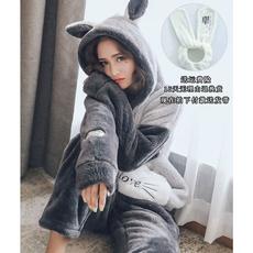 韩国珊瑚绒睡衣女秋冬季加厚保暖甜美可爱法兰绒连帽家居服套装