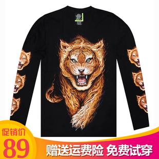泰国设计师潮牌T恤 3D动物火焰老虎潮男夜光长袖纯棉T恤 个性衣服