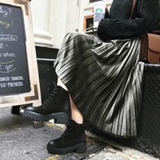 百褶裙秋冬季半身裙中长款韩版2017新款a字高腰时尚金丝绒长裙子