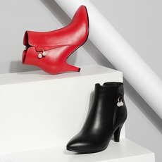 2016秋季全真皮女靴短靴中跟细跟尖头短筒靴单靴牛皮裸靴红色婚鞋