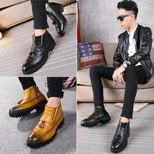 英伦韩版潮发型师皮靴子男士休闲高帮皮鞋马丁靴加绒短靴尖头皮鞋