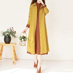 复古文艺棉麻外套女装春秋季中长款亚麻长袖外搭开衫宽松刺绣风衣