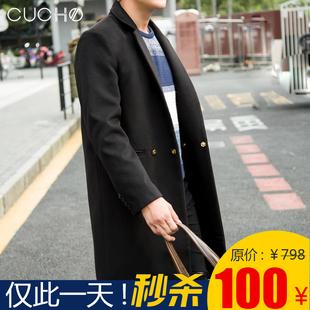 呢子大衣男士中长款冬季韩版毛呢外套男装双排扣时尚潮青年加厚25