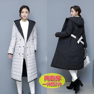 两面穿羽绒服女中长款2018修身韩版风衣双面潮冬季双排扣