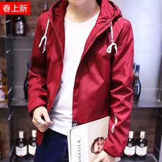 春秋上衣男青年学生连帽夹克薄款春装潮韩版休闲修身红色外套帅气