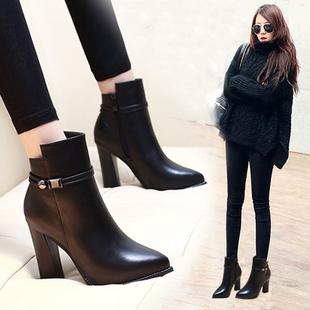 2016冬季新款黑色真皮短靴粗跟尖头马丁靴欧美短筒高跟鞋女皮靴子