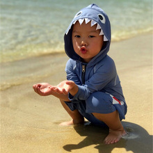 Korean version of children's conjoined swimsuit boy sunscreen cute shark swimsuit baby hot spring swimsuit cap