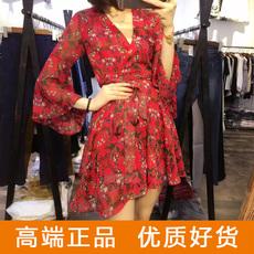 2016夏新款碎花金丝雪纺性感连衣裙V领喇叭袖收腰系带显瘦度假裙