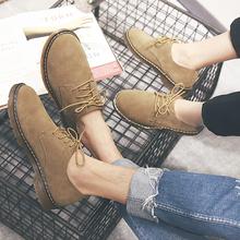 真皮英伦男士休闲鞋马丁低帮情侣反绒皮鞋工装鞋潮小码男鞋子冬季