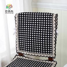棉线编织椅套餐椅套 椅子套 坐垫 椅垫罩套花边椅背套黑白
