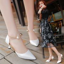 女尖头百搭韩版 包头凉鞋 粗跟性感百搭中空高跟鞋 2018新款 女夏单鞋