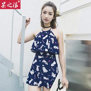 2018时尚新款游泳衣女士连体裙式韩国泡温泉学生显瘦遮肚保守泳装