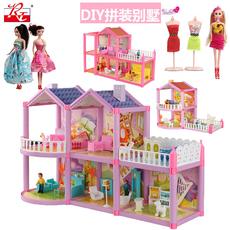 儿童芭芘比娃娃套装小女孩公主城堡玩具屋公仔玩偶过家家房子别墅