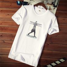 男士短袖t恤夏季新款圆领衣服韩版潮流纯棉大码夏装白色体恤男装