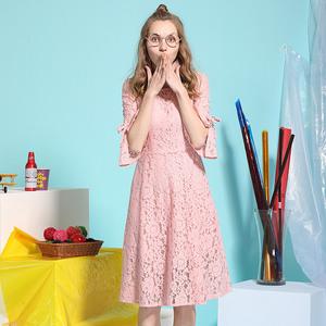 女孩规则2018春季新款时尚百搭蕾丝印花喇叭袖连衣裙NH-L573075
