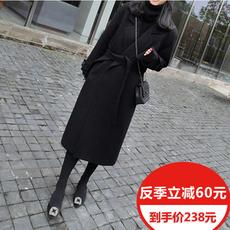 秋冬装韩版OL妮子中长款过膝修身显瘦黑色毛呢外套女加厚呢子大衣