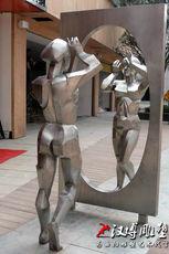 廉洁主题雕塑以史为镜玻璃钢雕塑人物雕塑定做现代商业街小品雕塑