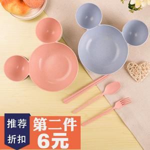 小麦秸秆米奇碗米妮碗儿童餐具套装可爱卡通防摔隔热宝宝饭碗筷勺
