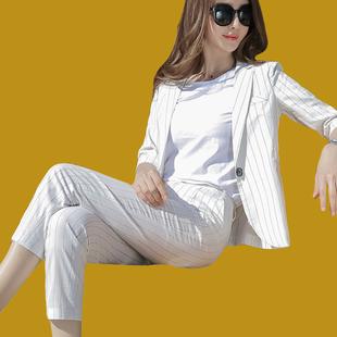 竖条纹时尚套装新款女装秋七分袖外套棉麻九分裤两件套裤职业气质