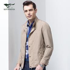 七匹狼官方正品牌旗舰店男士休闲立领夹克纯色时尚薄款茄克衫外套