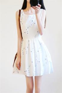 2017夏季韩国小清新学生棉麻无袖白色连衣裙夏天学院风少女短裙子