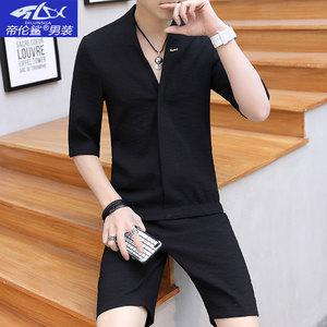 夜场潮短袖个性一套衣服男潮流社会T恤夏季男士套装2018帅气<span class=H>男装</span>