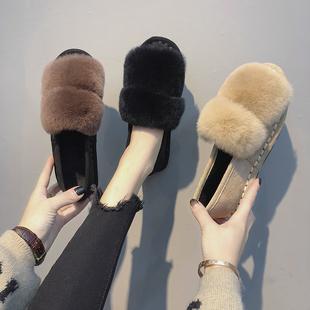 秋季毛毛鞋女2018新款韩版平底二棉鞋女厚底外穿兔毛加绒豆豆鞋冬