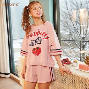 Pinksea纯棉睡衣女夏季草莓甜美可爱宽松加大码女款家居服女纯棉