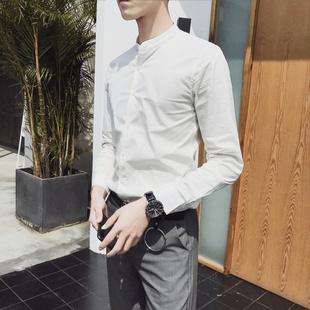 夏季立领衬衫男士韩版修身商务帅气长袖白衬衣棉麻料亚麻寸衫薄款