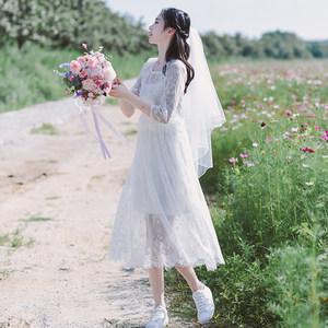 [告白]夏仙女初恋复古气质清新<span class=H>甜美</span><span class=H>蕾丝</span>收腰中长款白色旅拍连衣裙