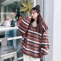 韩版140 特大码女装条纹慵懒风胸围显瘦宽松毛呢灯笼袖加肥卫衣女