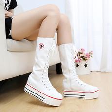 韩版长靴秋款长筒侧拉链高筒靴厚底松糕高帮女鞋内增高帆布女靴子