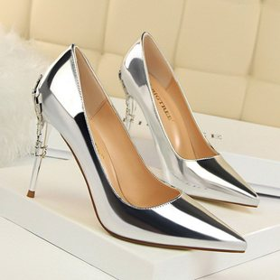 Women's shoes, fine heels, high heels, shallow mouth,