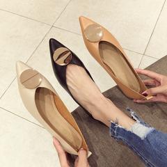 18秋新款韩版金属圆片尖头浅口平底单鞋女学生舒适百搭软底奶奶鞋