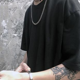 短袖t恤比伯同款純色夏天圓領純棉oversize半袖寬松男女ins打底衫