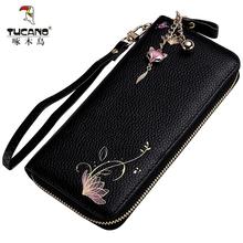 啄木鸟女士钱包真皮长款手包2018新款小清新百搭拉链零钱包手机包