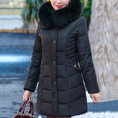 妈妈羽绒服女中长款加厚中年女士40-50岁2017新款中老年冬装外套