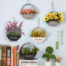 田园客厅墙上壁饰创意家居植物装 墙壁装 铁艺壁挂花盆 饰花挂件