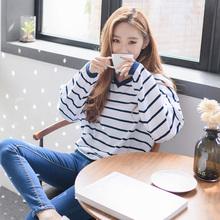 外穿秋衣上衣打底衫 韩版 条纹宽松学生长袖 2018春季新款 T恤女装