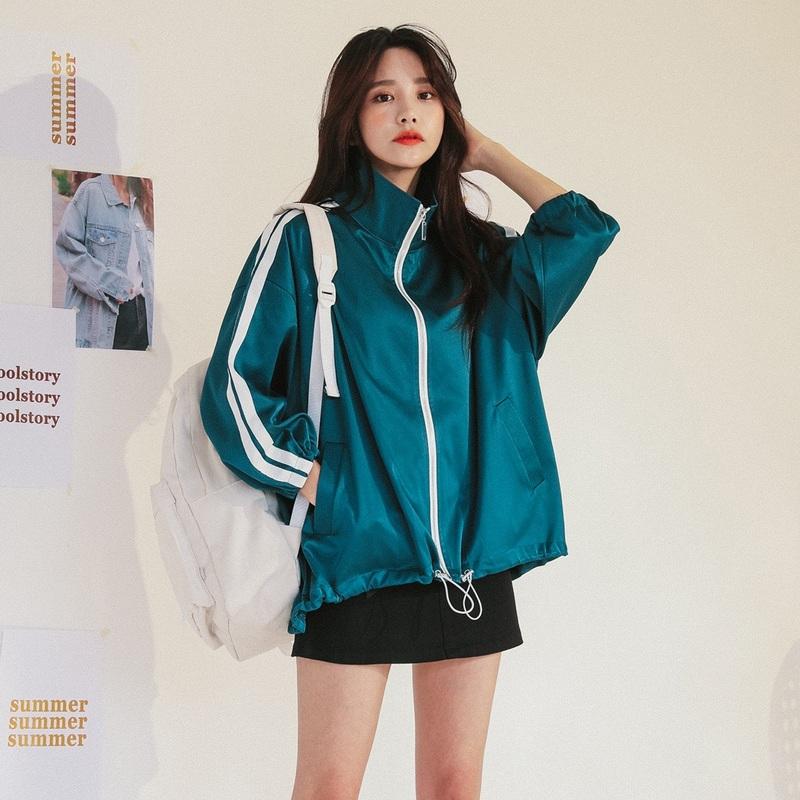 2018春装新款ins超火的宽松外套女韩版学生运动风夹克春秋棒球服图片
