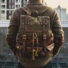 复古二战军事风格 加厚帆布配牛皮双肩包 休闲背包电脑旅行包男包