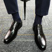 米莱特方头商务正装头层牛皮鞋真皮英伦系带男鞋黑色新郎婚鞋大码