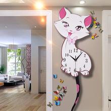 饰简约大气静音家用石英时钟 猫咪钟表挂钟挂表客厅创意个性 现代装