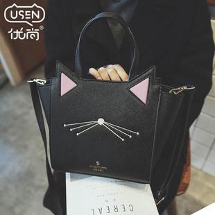 包包2016新款冬季斜挎包大包猫咪翅膀手提包女包韩版手拎包单肩包