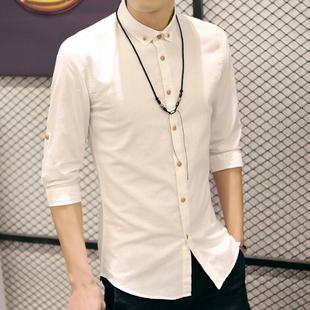 夏韩版男士亚麻白短袖衬衫修身纯色七分袖棉麻衬衣中长袖半袖寸衫