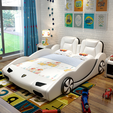 创意儿童汽车皮床卡通跑车男孩女孩带护床栏1.5米个性房 兰博基尼