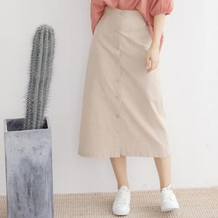 2018夏新款高腰显瘦棉麻半身裙中长款女夏纯色文艺亚麻长裙a字裙