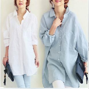 2018春夏装新款衬衣宽松大码长款棉麻质感连衣裙衬衫款纯色遮肉